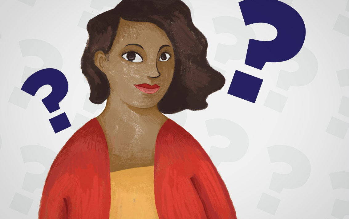 stylized drawing of woman with question marks around her